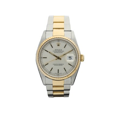 ROLEX | REFERENCE 16233 DATEJUST  A STAINLESS STEEL AND YELLOW GOLD AUTOMATIC WRISTWATCH WITH DATE AND BRACELET, CIRCA 2001