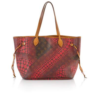 View 1. Thumbnail of Lot 6. Red Monogram Dots Infinity Neverfull MM Tote in Vachetta Leather with Goldtone Hardware, 2012.