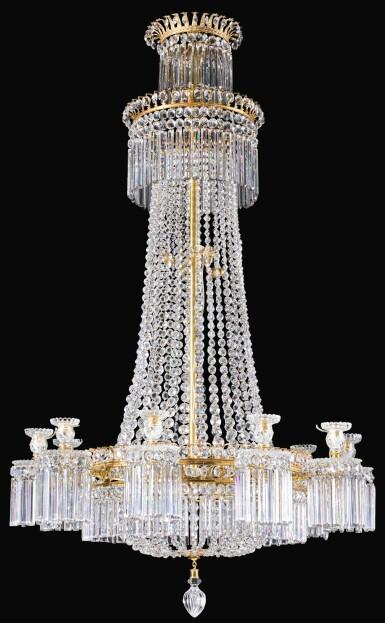 A REGENCY GILT-BRONZE AND CUT-GLASS TEN-LIGHT CHANDELIER, CIRCA 1810, ATTRIBUTED TO JOHN BLADES