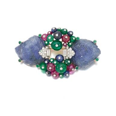 View 2. Thumbnail of Lot 22. Sapphire, emerald, ruby and diamond Tutti Frutti brooch/pendant (Spilla/pendente con zaffiri, smeraldi, rubini e diamanti, Tutti Frutti).