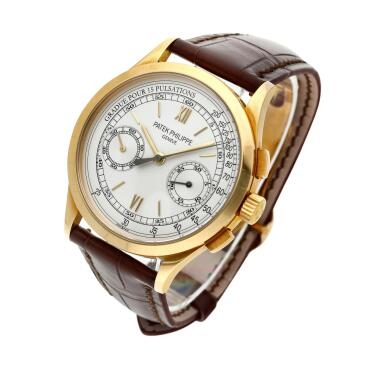 View 3. Thumbnail of Lot 355. Reference 5170  A yellow gold chronograph wristwatch with pulsation scale, Made in 2011 .