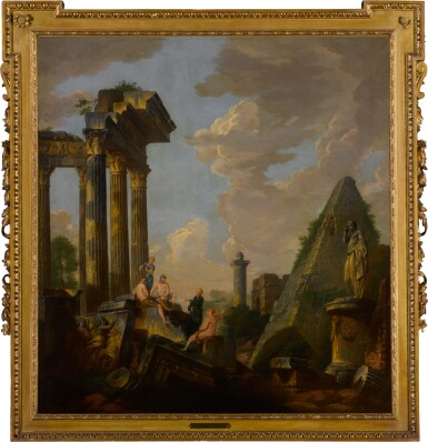 View 3. Thumbnail of Lot 101. An architectural capriccio with a preaching apostle and figures before ruins, including the pyramid of Gaius Cestius, Trajan's column and the arch of Janus .
