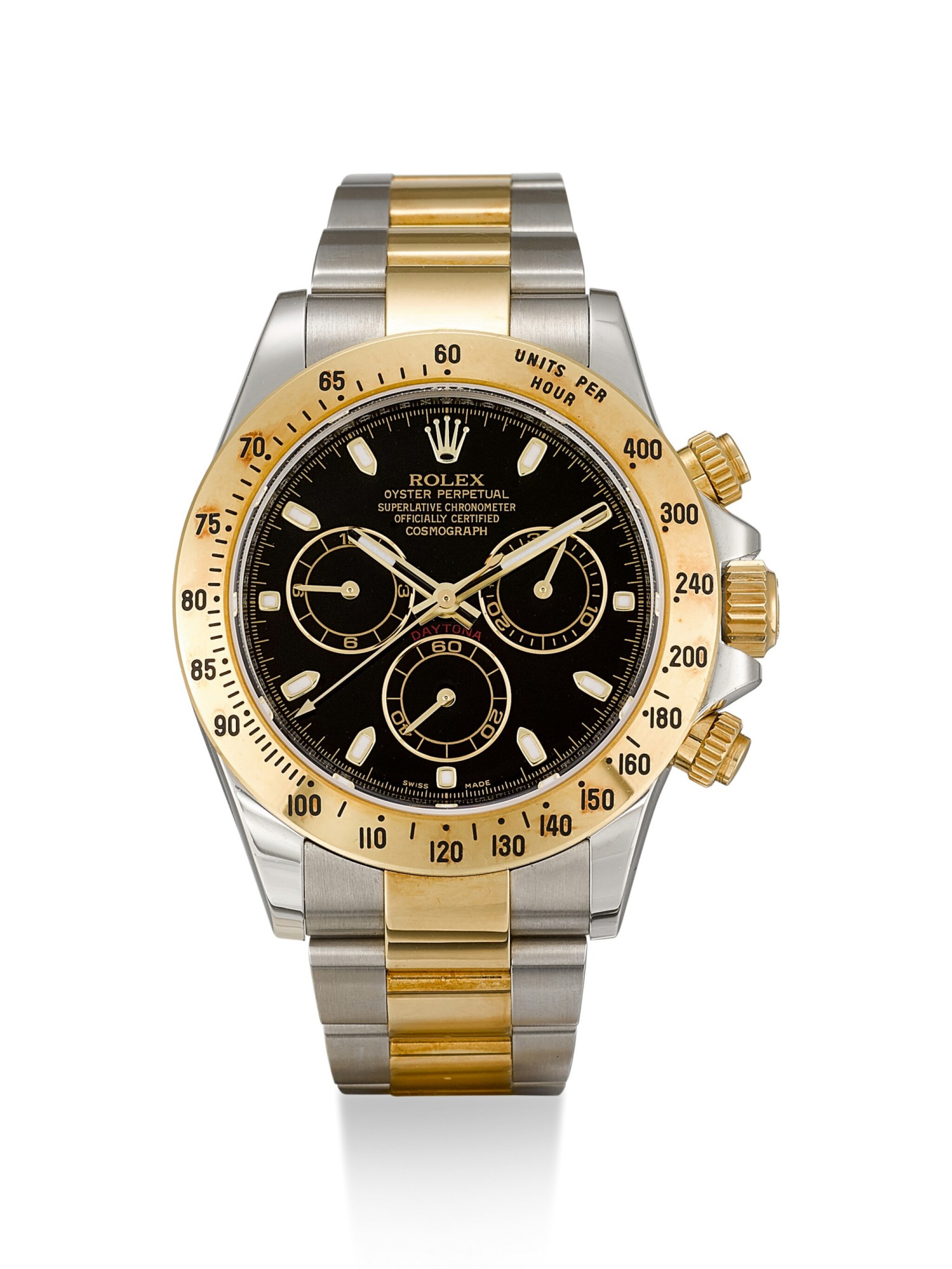 View full screen - View 1 of Lot 8. ROLEX |  COSMOGRAPH DAYTONA, REFERENCE 116523, A YELLOW GOLD AND STAINLESS STEEL CHRONOGRAPH WRISTWATCH WITH BRACELET, CIRCA 2012.