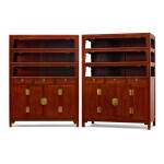 A RARE AND LARGE PAIR OF HUANGHUALI SQUARE-CORNER DISPLAY CABINETS, WANLIGUI 17TH CENTURY | 十七世紀 黃花梨萬曆櫃成對