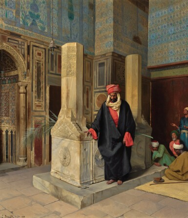 LUDWIG DEUTSCH | PRAYING IN THE BLUE MOSQUE, CAIRO