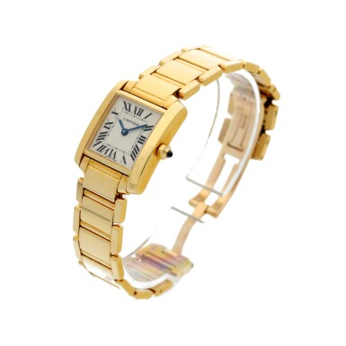 View 2. Thumbnail of Lot 84. REFERENCE 2385 TANK FRANCAISE A YELLOW GOLD RECTANGULAR BRACELET WATCH, CIRCA 1999.