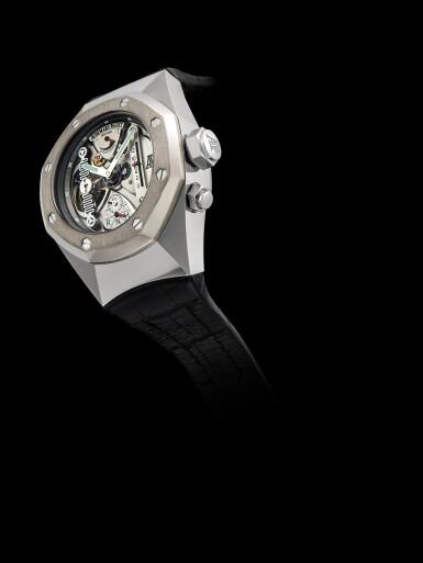 View 5. Thumbnail of Lot 2241. Audemars Piguet | Royal Oak Concept, Reference 25980AI.OO.D003SU.01, A limited edition alacrite semi-skeletonised tourbillon wristwatch with dynamographe and power reserve indication, Circa 2005 | 愛彼 | 皇家橡樹概念系列 型號25980AI.OO.D003SU.01  限量版 alacrite 合金半鏤空陀飛輪腕錶,備扭矩力及動力儲備顯示,約2005年製.