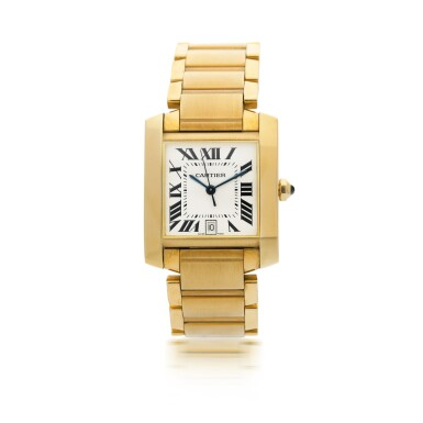 CARTIER  |  REFERENCE 1840 TANK FRANCAISE  A YELLOW GOLD AUTOMATIC WRISTWATCH WITH DATE AND BRACELET, CIRCA 2000