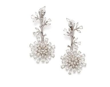 View 3. Thumbnail of Lot 1416. VAK | 'CHRYSANTHEMUMS IN SUMMER' PAIR OF DIAMOND PENDENT EARRINGS |  VAK | 'Chrysanthemums in Summer' 鑽石吊耳環一對.
