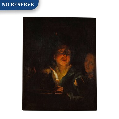 View 1. Thumbnail of Lot 70. A young man eating porridge before a candle, with a girl in the background.