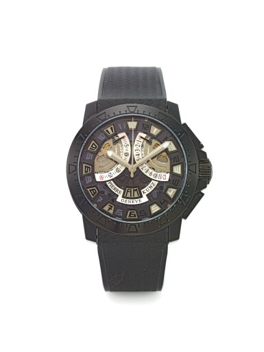 PIERRE KUNZ | REF G403 SPIRIT OF CHALLENGE,  A LIMITED EDITION BLACK COATED STAINLESS STEEL AUTOMATIC CHRONOGRAPH WRISTWATCH WITH DAY/NIGHT INDICATION AND RETROGRADE REGISTERS CIRCA 2007