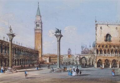 View 1. Thumbnail of Lot 541. CARLO GRUBACS   View of Piazza San Marco, Venice.