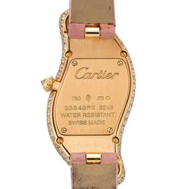 View 3. Thumbnail of Lot 2036. Cartier | Baignoire, Reference 3248, A pink gold and diamond-set wristwatch, Circa 2015 | 卡地亞 | Baignoire 型號3248 粉紅金鑲鑽石腕錶,約2015年製.