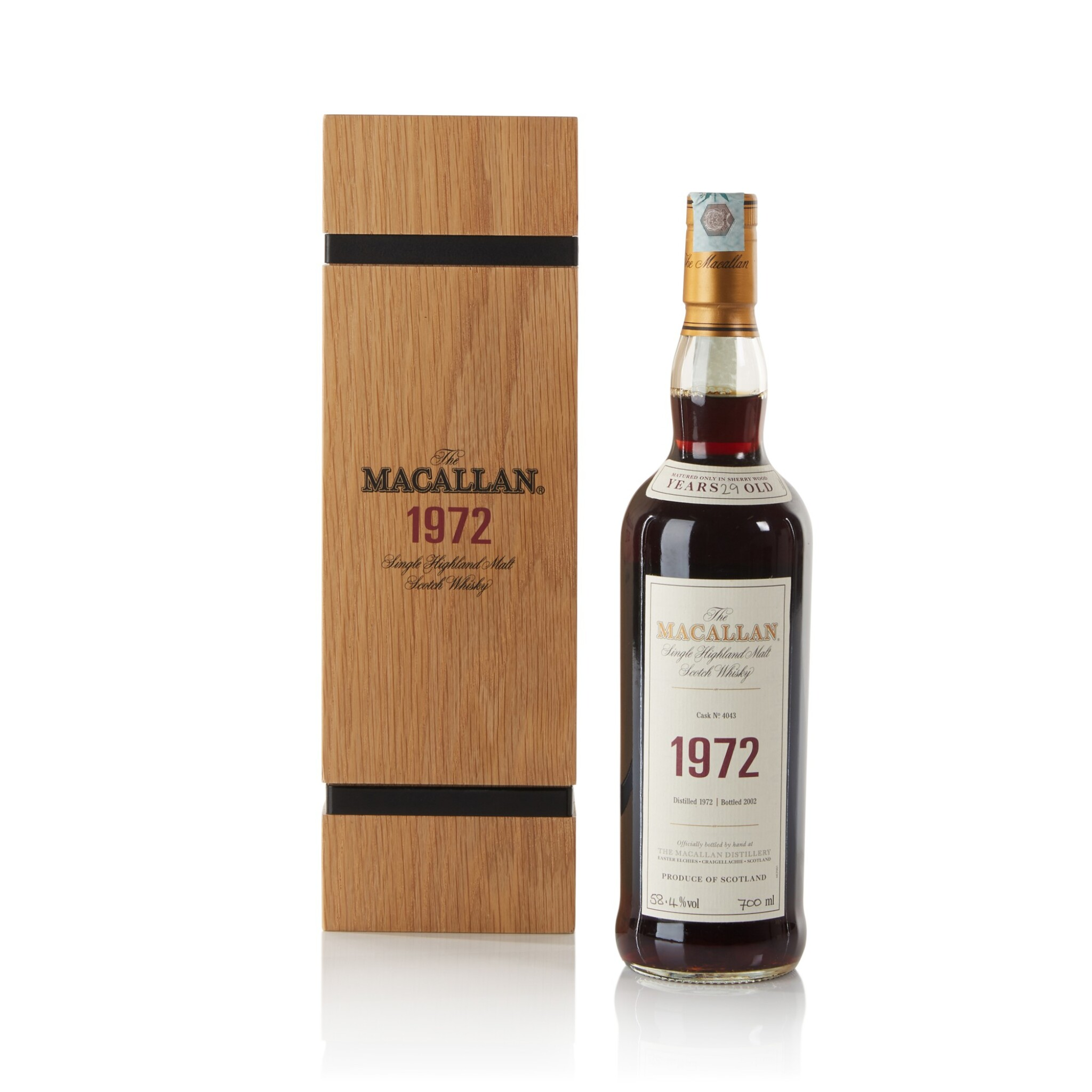 View full screen - View 1 of Lot 11. The Macallan Fine & Rare 29 Year Old 58.4 abv 1972 .