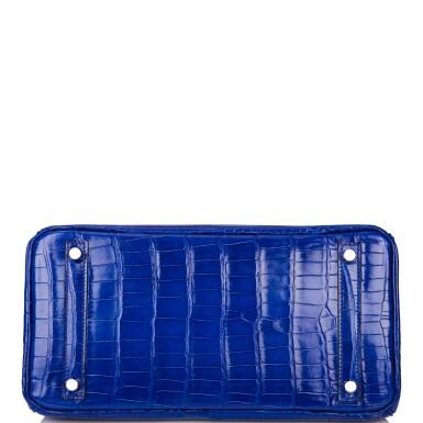 View 6. Thumbnail of Lot 7. Hermès Bleu Electrique Birkin 30cm of Shiny Porosus Crocodile with Palladium Hardware.