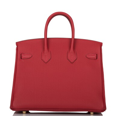 View 5. Thumbnail of Lot 21. HERMÈS   ROUGE VIF BIRKIN 25CM OF TOGO LEATHER WITH GOLD HARDWARE.