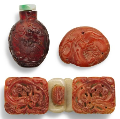 A RED JADEITE 'CHILONG' BELT BUCKLE QING DYNASTY, 19TH CENTURY | 清十九世紀 翠玉雕螭龍帶扣