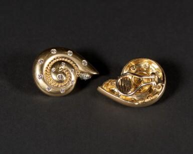 View 3. Thumbnail of Lot 39. Smooth Snail Diamond Earrings .