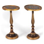 A PAIR OF REGENCY GRAINED AND PARCEL GILT CENTER TABLES, THE BASES 19TH CENTURY AND ADAPTED FROM POLE SCREENS