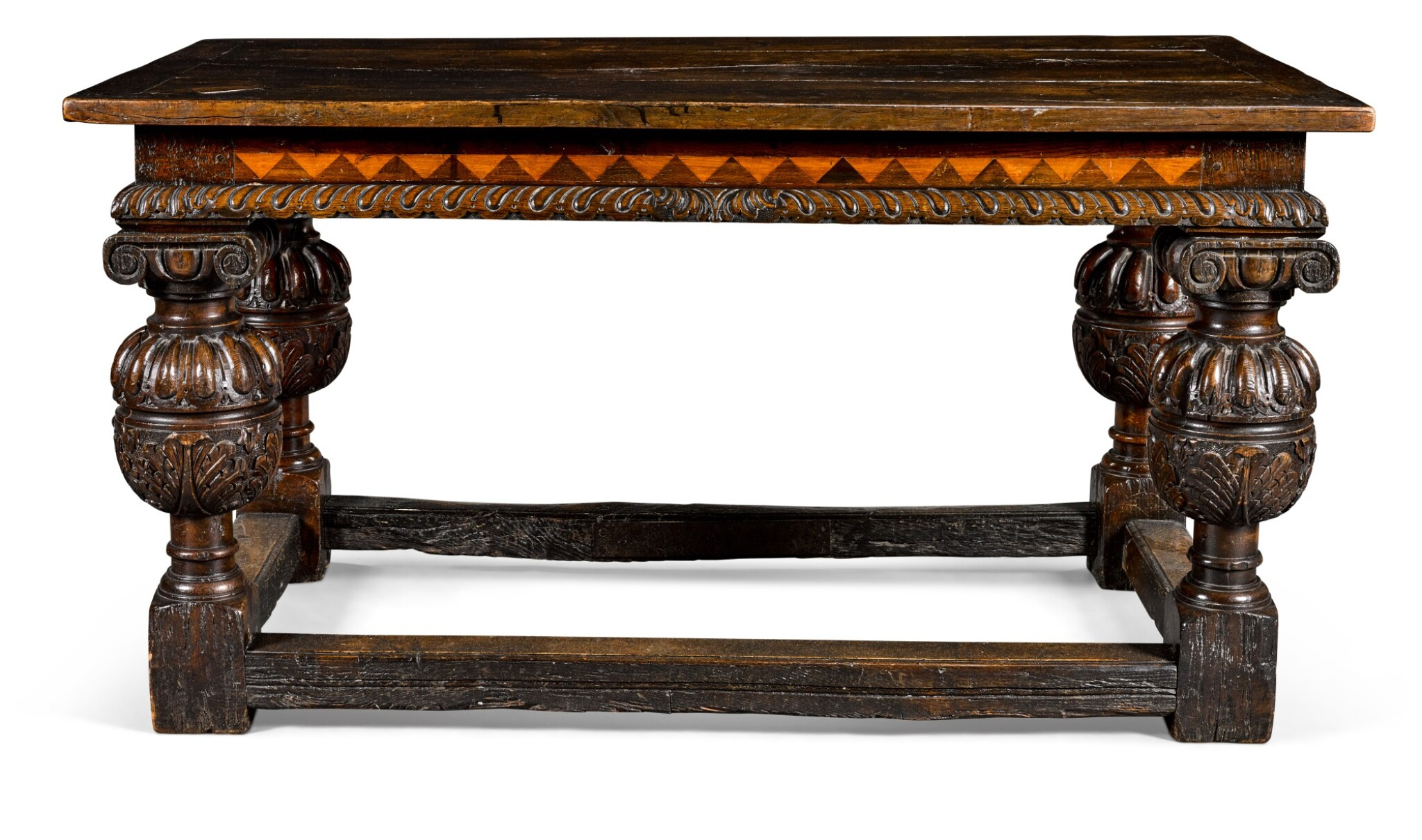 View 1 of Lot 22. An Elizabethan style oak centre table, 19th century incorporating earlier elements.