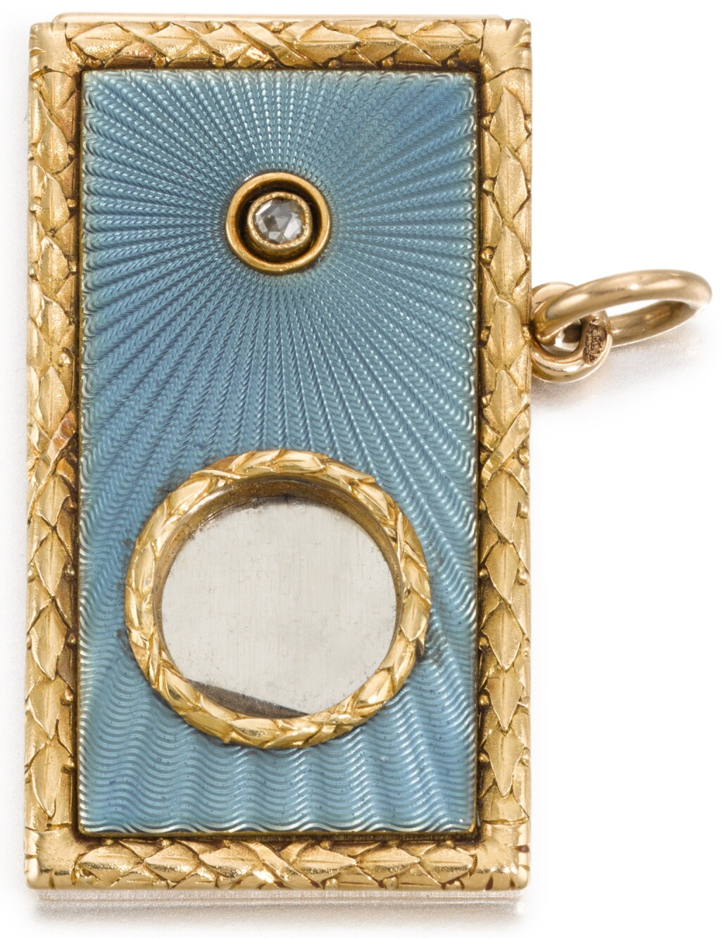 A JEWELLED GOLD AND GUILLOCHÉ ENAMEL CIGAR CUTTER, IN THE STYLE OF FABERGÉ, 20TH CENTURY