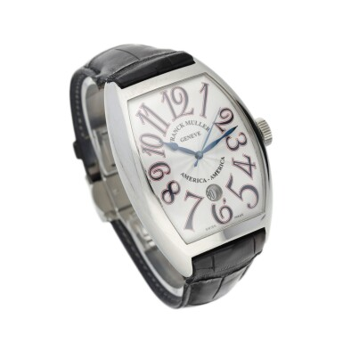 View 2. Thumbnail of Lot 69.  FRANCK MULLER | REFERENCE 8880 SC DT AMERICA-AMERICA  A LIMITED EDITION STAINLESS STEEL TONNEAU-SHAPED AUTOMATIC WRISTWATCH WITH DATE, CIRCA 2008.