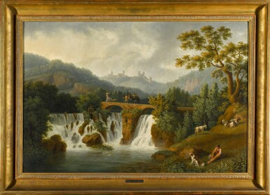 View 2. Thumbnail of Lot 201. A capriccio view of the Canneto river valley at Cava de' Tirreni near Vietri with figures crossing a bridge over waterfalls.