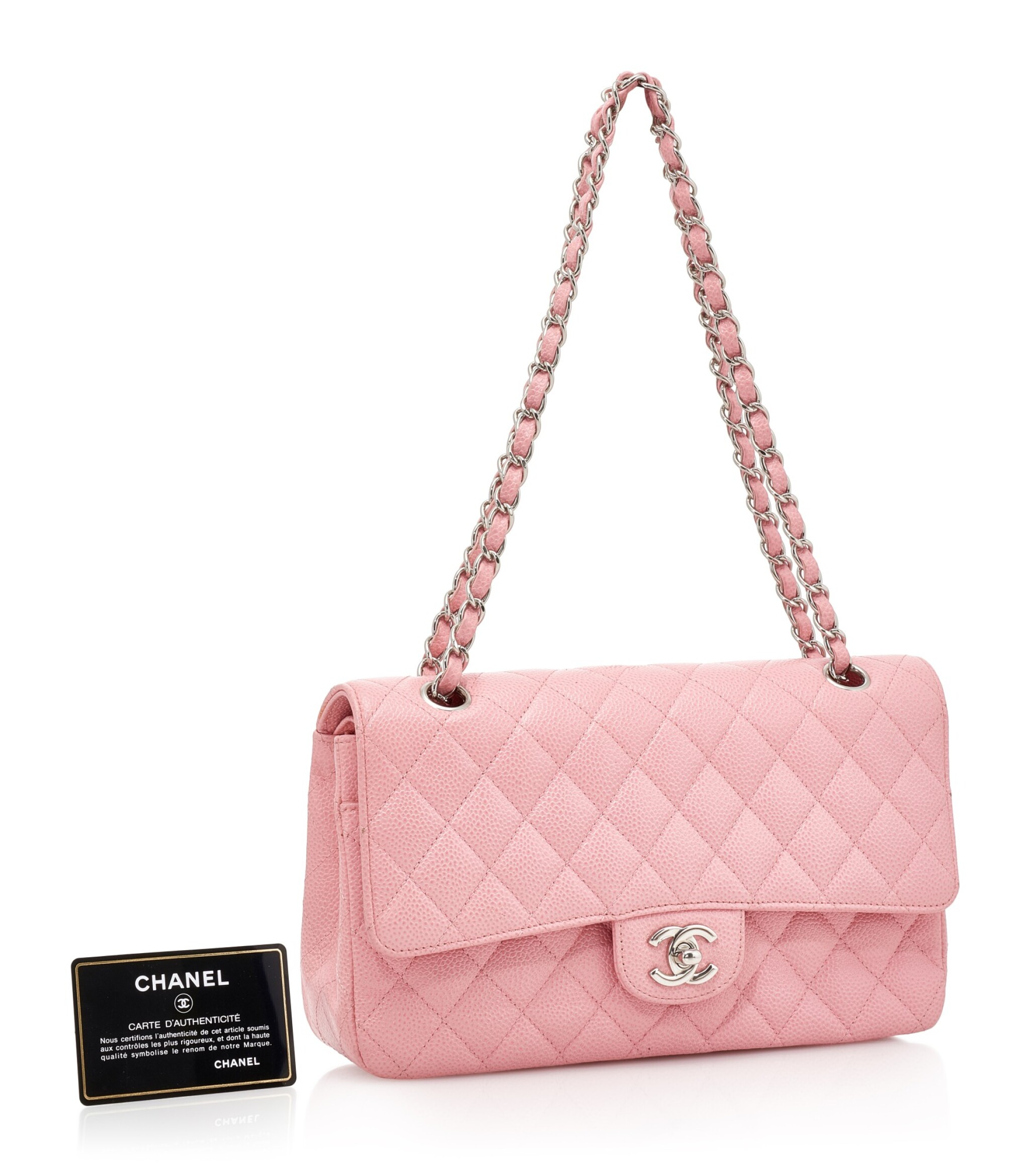 View full screen - View 1 of Lot 144. ROSE PINK CAVIAR LEATHER AND SILVER-TONE METAL CLASSIC SHOULDER BAG, CHANEL.