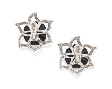 PAIR OF ONYX AND DIAMOND EARCLIPS, CHANEL, FRANCE