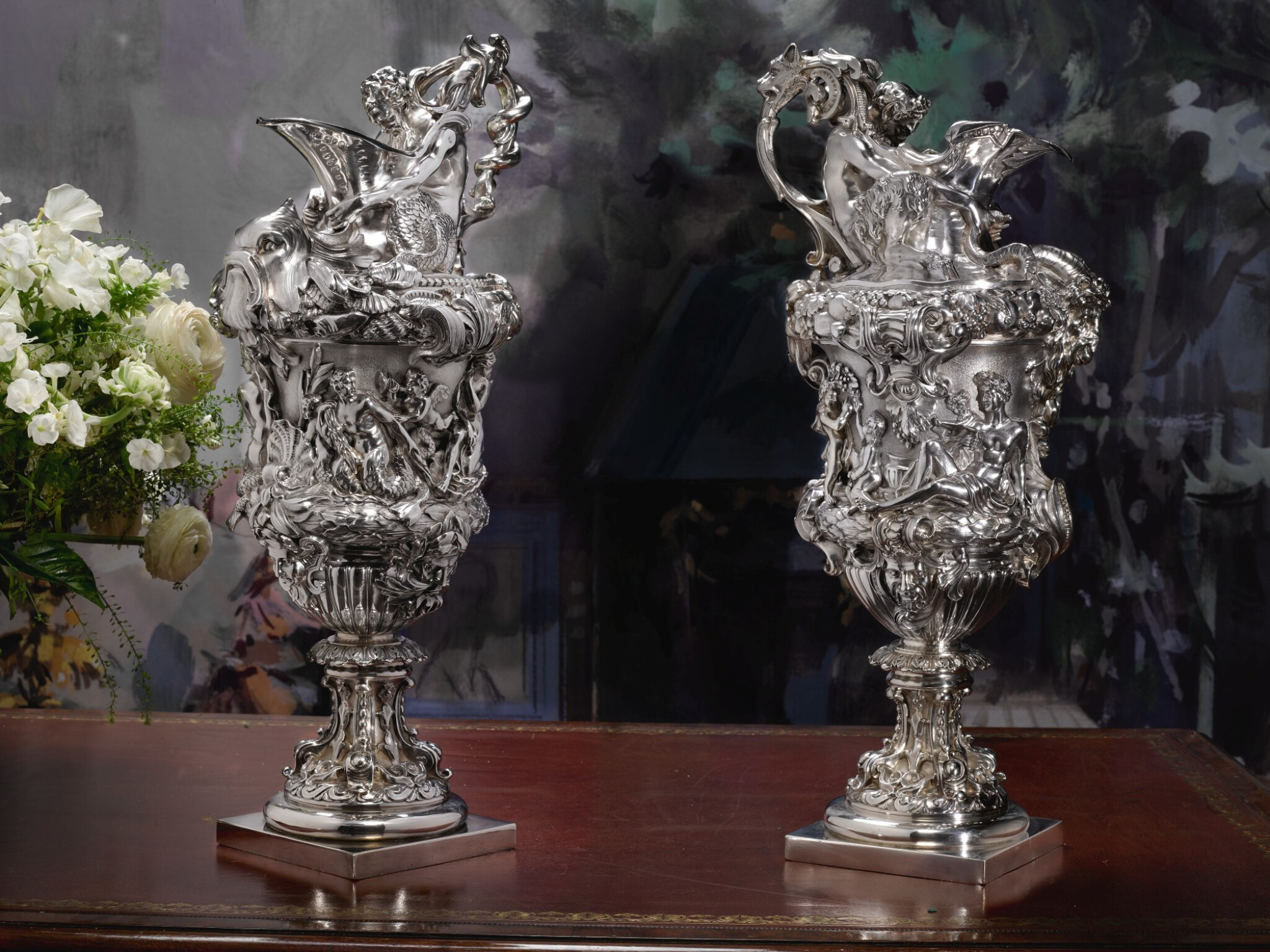 View full screen - View 1 of Lot 7. A PAIR OF LARGE AND HEAVY EARLY VICTORIAN SILVER EWERS, FROM THE COLLECTION OF SOPHIA LOREN, JOHN FIGG, LONDON, 1838-39.