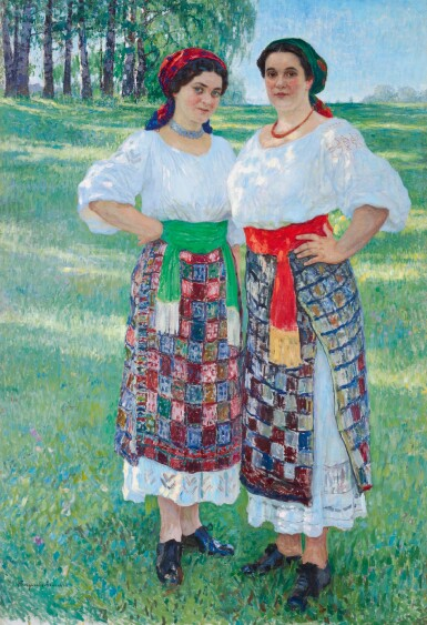 View 1. Thumbnail of Lot 43. NIKOLAI PETROVICH BOGDANOV-BELSKY | TwoWomen in Latgalian Dress.