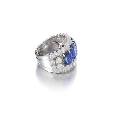 View 2. Thumbnail of Lot 1152. Sapphire and diamond ring.