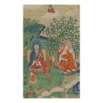 A THANGKA DEPICTING CHUDAPANTAKA AND KANAKAVATSA, TIBET, 19TH CENTURY