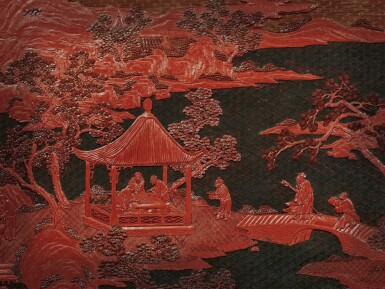 View 4. Thumbnail of Lot 63. An exceptional pair of carved three-color lacquer 'landscape' panels, Qing dynasty, Qianlong period | 清乾隆 剔彩山水高士圖掛屏一對.