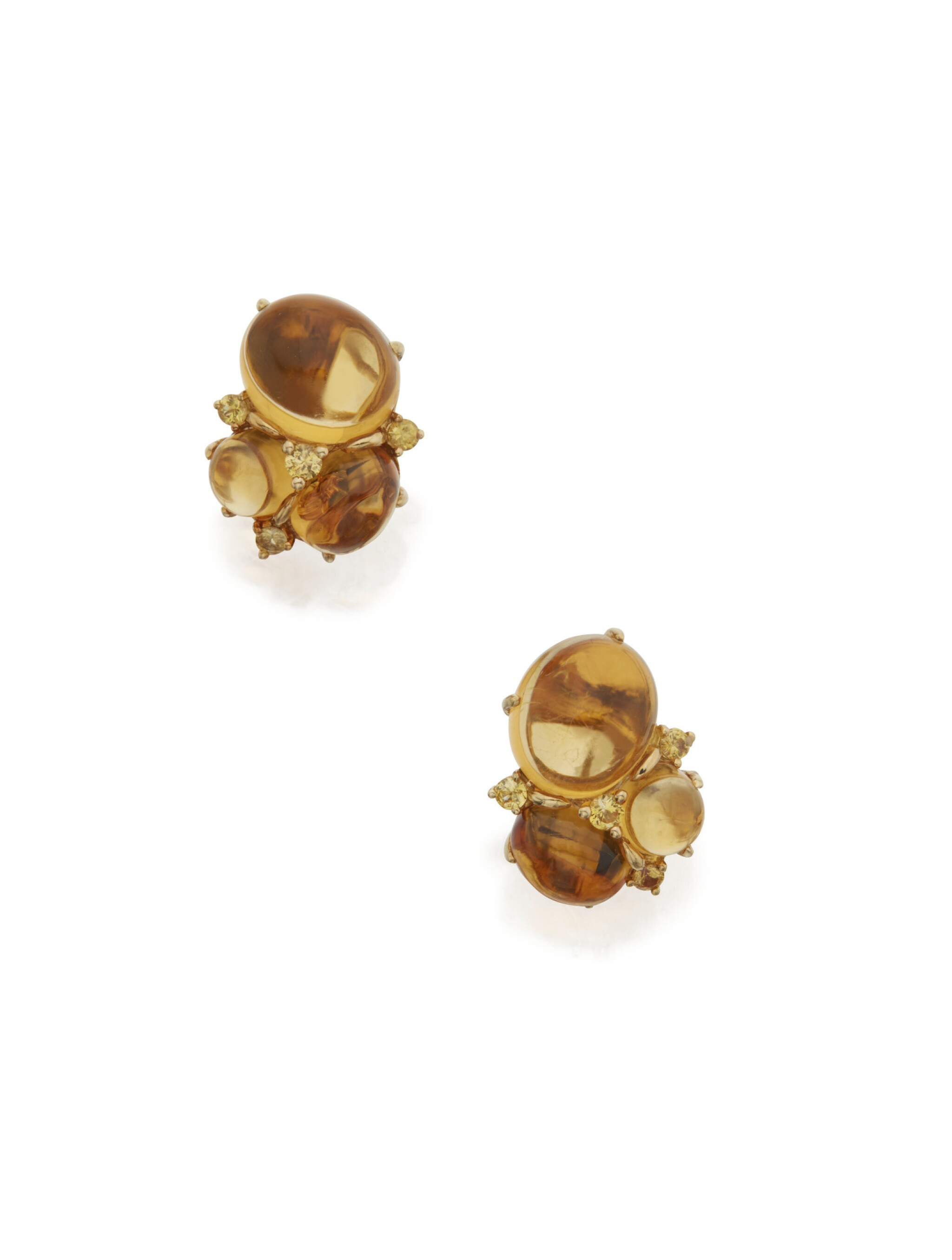 View full screen - View 1 of Lot 114. PAIR OF CITRINE AND YELLOW SAPPHIRE EARCLIPS, SEAMAN SCHEPPS.
