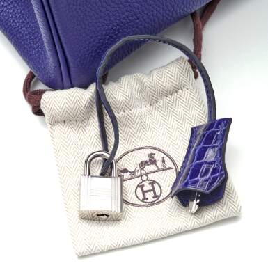 View 10. Thumbnail of Lot 341. Bleu Encre Touch Birkin 25cm in Togo Leather and Shiny Niloticus Crocodile with Palladium Hardware, 2018.