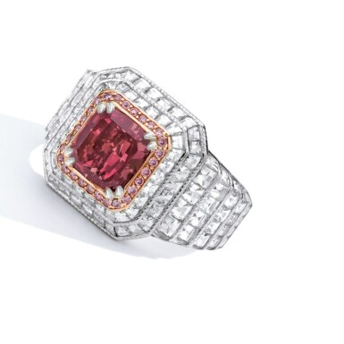 View 2. Thumbnail of Lot 427. A RARE FANCY RED DIAMOND AND DIAMOND RING | 彩紅色鑽石配鑽石戒指一枚.