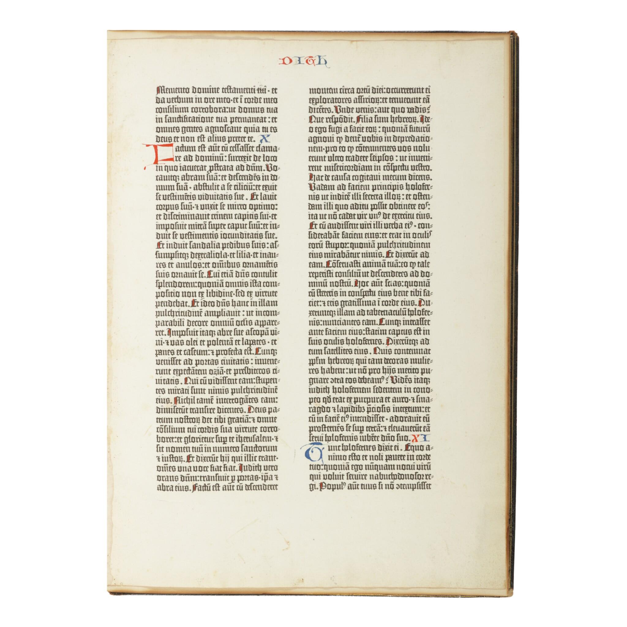 View full screen - View 1 of Lot 101. BIBLE IN LATIN | A leaf from the Gutenberg Bible. [Mainz: Johann Gutenberg and Johann Fust, 1455].