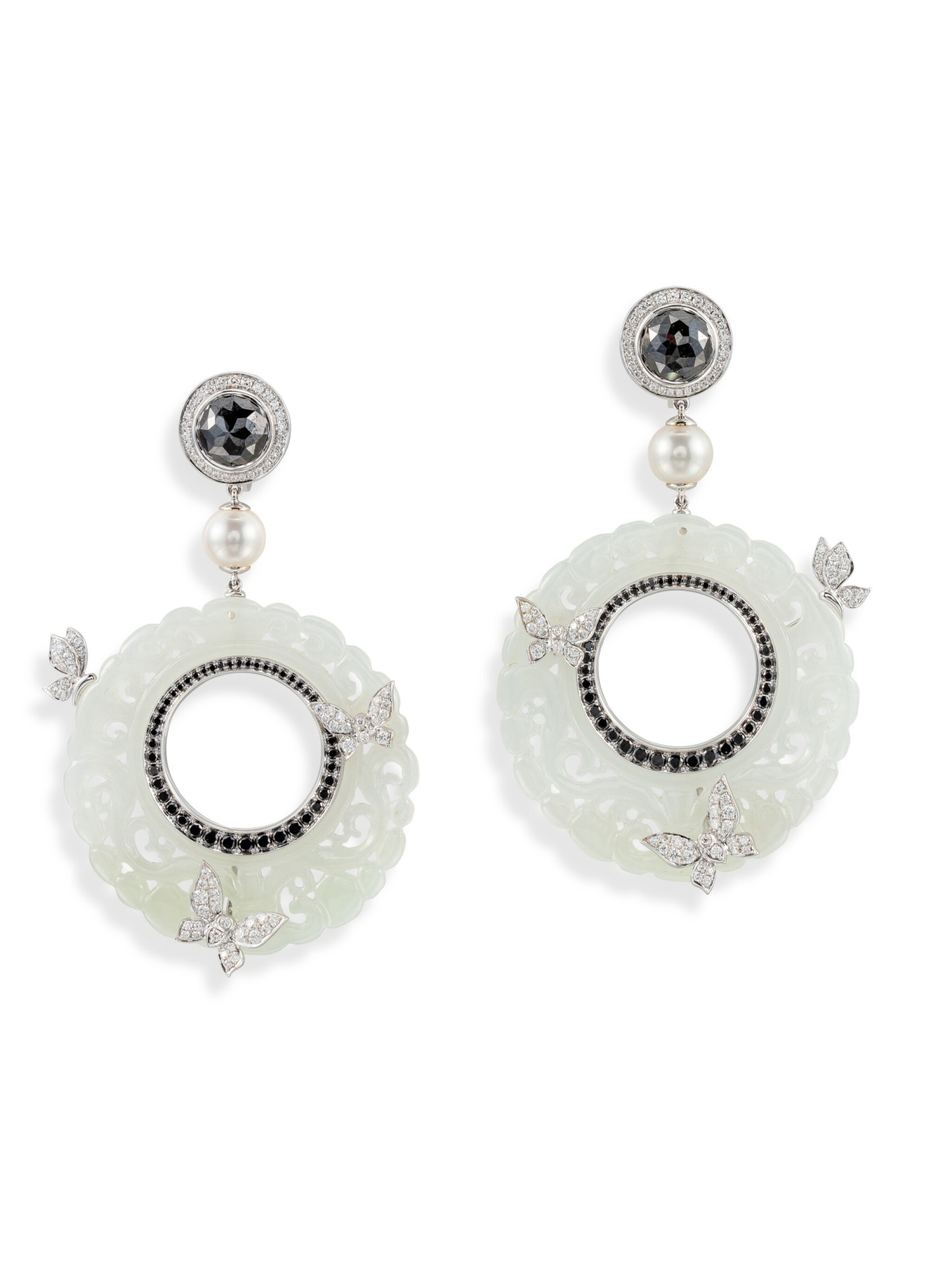 View full screen - View 1 of Lot 8013. Pair of Jade, Diamond and Cultured Pearl Pendent Earrings | 翡翠 配 鑽石 及 養殖珍珠 耳環一對.