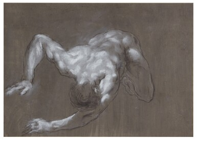 View 1. Thumbnail of Lot 107. FRANCESCO MONTI  |  RECTO: A CROUCHING MAN, SEEN FROM ABOVE; VERSO: STUDY OF LEGS.