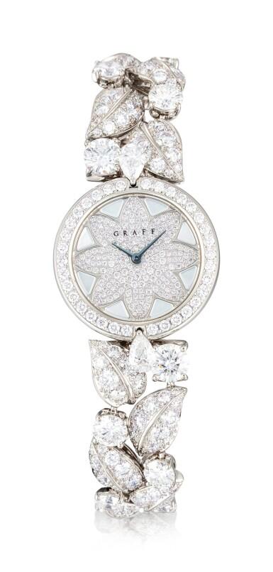 View 1. Thumbnail of Lot 1057. 'Graff Leaf' Reference GL25WGDDDD, Limited Edition White Gold and Diamond-Set Wristwatch, Number 1   格拉夫  Graff Leaf編號GL25WGDDDD,限量版白金鑲鑽石腕表,編號1,約2010年製.