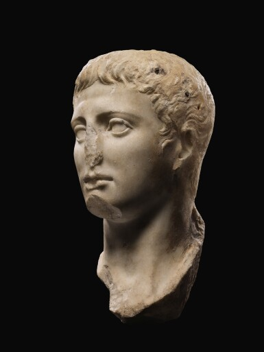 View 2. Thumbnail of Lot 40. A ROMAN MARBLE PORTRAIT HEAD OF A YOUTH, JULIO-CLAUDIAN, EARLY 1ST CENTURY A.D..