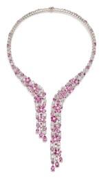 GRAFF   PINK SAPPHIRE AND DIAMOND NECKLACE   格拉夫   粉紅剛玉 配 鑽石 項鏈 ( 粉紅剛玉及鑽石共重約52.52及31.51卡拉 )