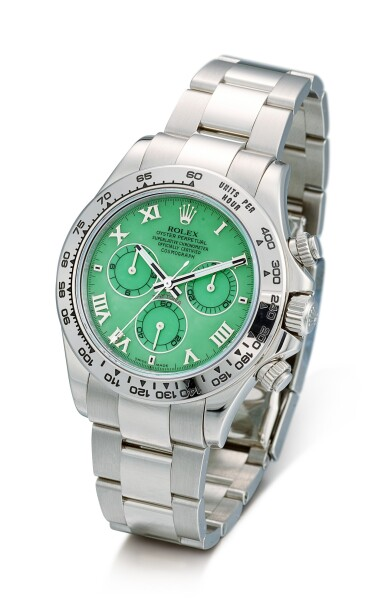 View 2. Thumbnail of Lot 164. ROLEX | COSMOGRAPH DAYTONA, REFERENCE 116509H, A WHITE GOLD CHRONOGRAPH WRISTWATCH WITH GREEN CHRYSOPRASE DIAL AND BRACELET, CIRCA 2015.