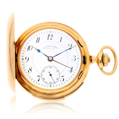 View 1. Thumbnail of Lot 196. A rare and fine gold hunting cased keyless lever watch with alarm  Circa 1919, no. 62977.