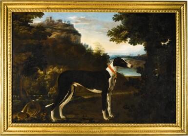 MICHELE PACE, CALLED MICHELANGELO DEL CAMPIDOGLIO | Portrait of a black and white greyhound belonging to the Chigi family, standing in a mountainous landscape | 米謝爾・佩斯 - 或稱米開朗基羅・德・坎皮多里奧 |《基吉家族之黑白色獵犬站於山景中的肖像》