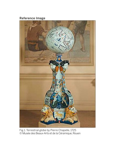 View 14. Thumbnail of Lot 11. A ROUEN FAIENCE PEDESTAL STAND FOR A GLOBE, CIRCA 1725, MADAME LE COQ DE VILLERAY FACTORY.