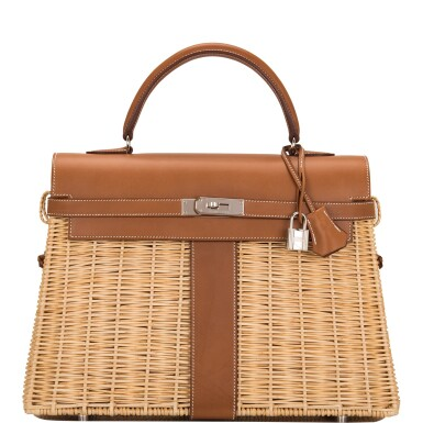 View 1. Thumbnail of Lot 14. Hermès Wicker and Barenia Leather Picnic Bag Kelly 35cm Palladium Hardware.