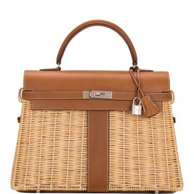 Hermès Wicker and Barenia Leather Picnic Bag Kelly 35cm Palladium Hardware