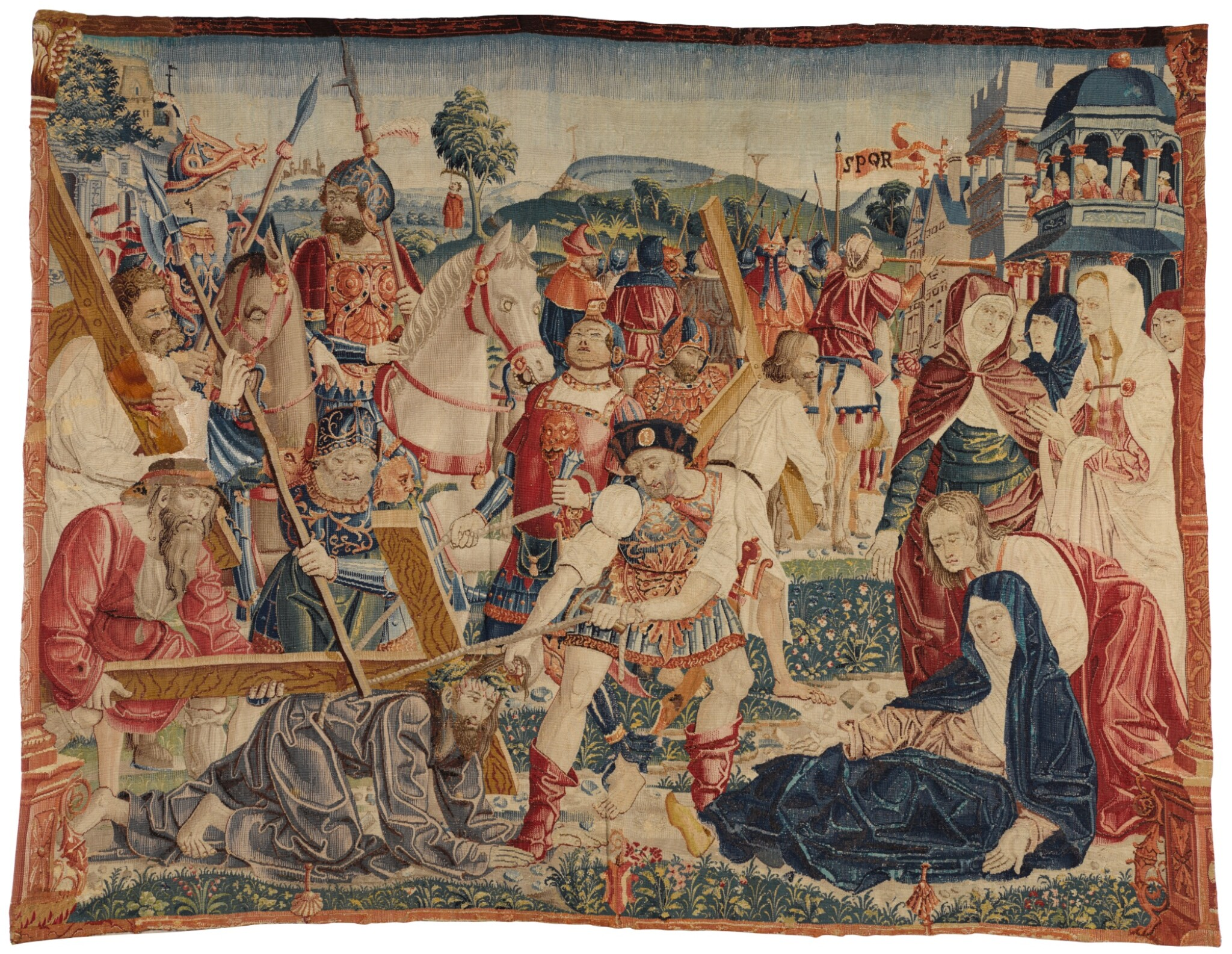 View full screen - View 1 of Lot 74. THE ROAD TO CALVARY, A RARE FLEMISH NEW TESTAMENT BIBLICAL TAPESTRY FRAGMENT, NETHERLANDS, POSSIBLY TOURNAI, FROM THE SERIES OF THE LIFE OF CHRIST AND THE VIRGIN, DESIGNER UNKNOWN, EARLY 16TH CENTURY, CIRCA 1505-1516.